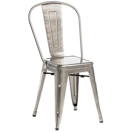 Tolix Style Metal Stacking Chair - Brushed Gun Metal