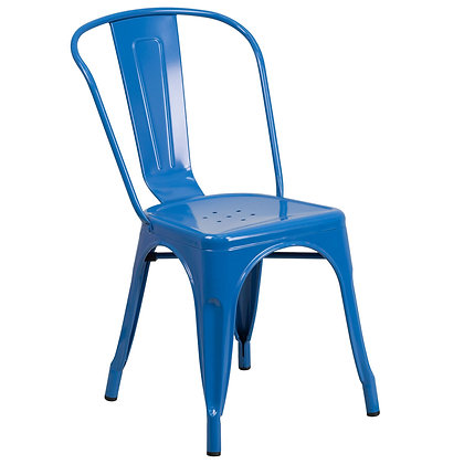 Tolix Style Metal Stacking Chair -Navy Blue