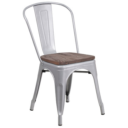 Tolix Style With Back And Wood Seat Metal Stacking Chair - Silver