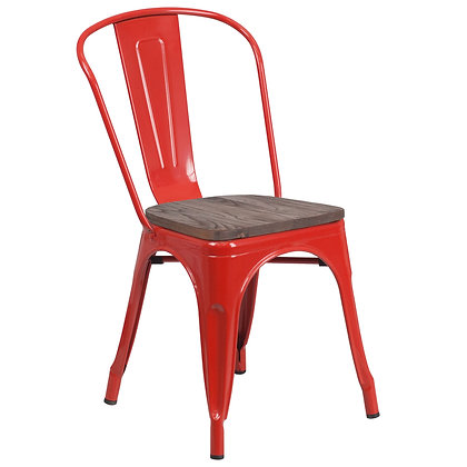 Tolix Style With Back And Wood Seat Metal Stacking Chair - Red