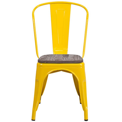 Tolix Style With Back And Wood Seat Metal Stacking Chair - Yellow