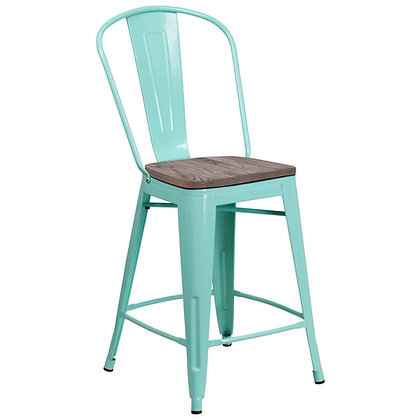 """24""""High Counter Height Stool With Back And Wood Seat - Pink Greenish"""