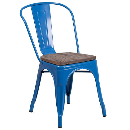 Tolix Style With Back And Wood Seat Metal Stacking Chair - Navy Blue