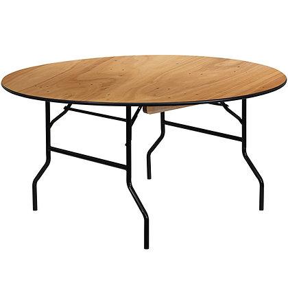 5 ft. Round Wood Folding Banquet Tables - FTWR60 (153cm)