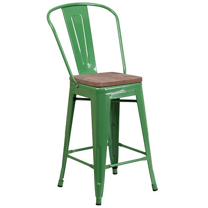 """24""""High Counter Height Stool With Back And Wood Seat - Green"""