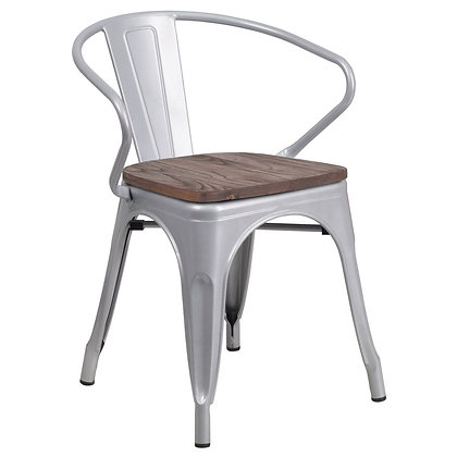 Tolix Style Armrest Wood Seat Metal Stacking Chair - Silver
