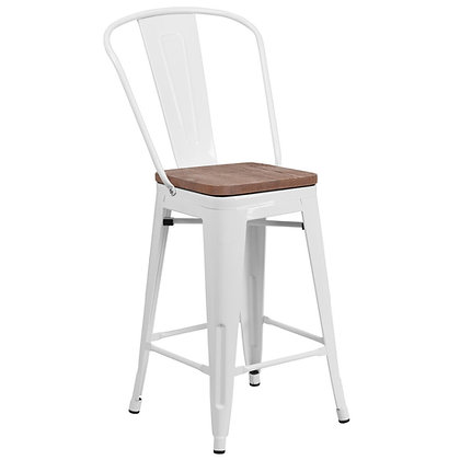 """24"""" High Counter Height Stool With Back And Wood Seat - White"""