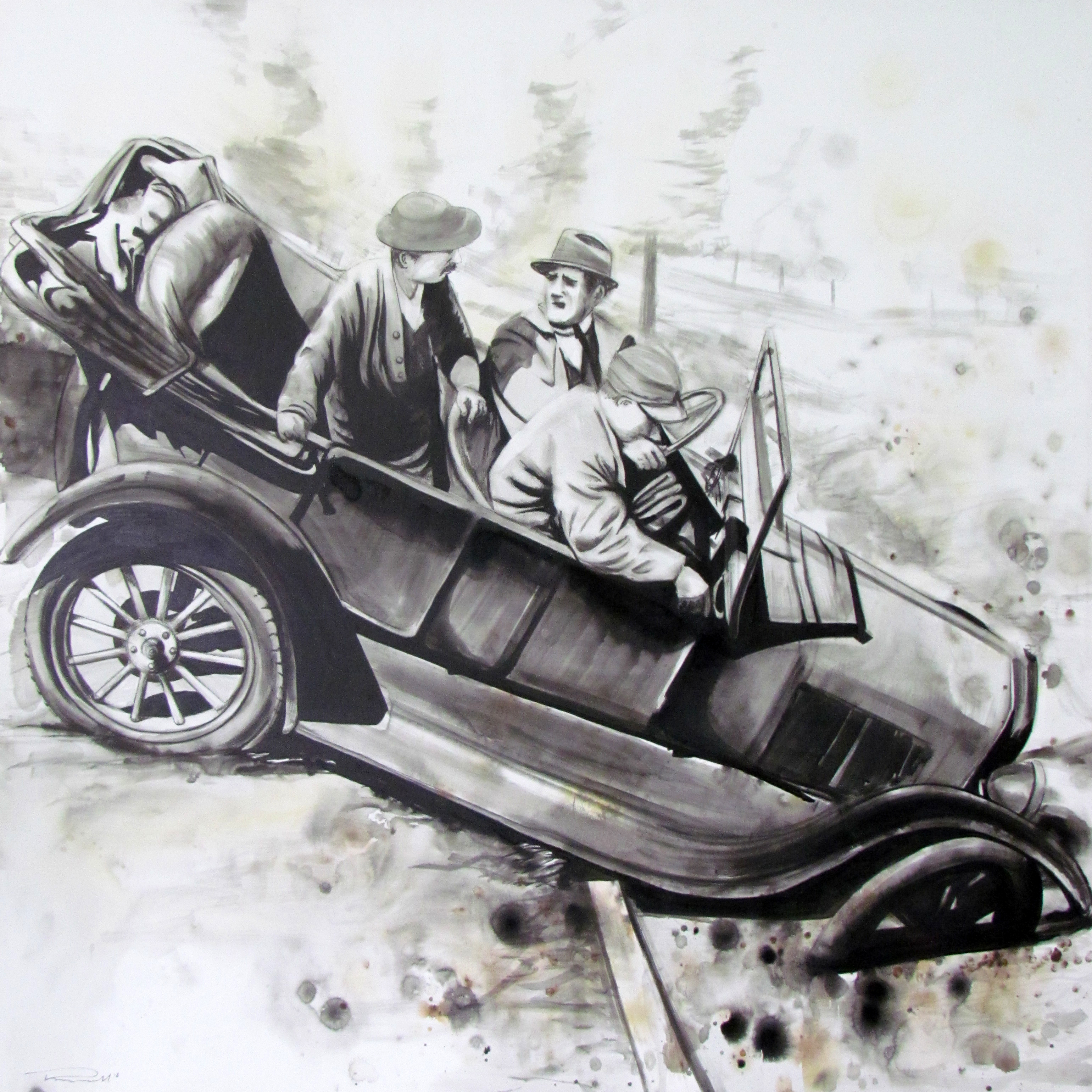Ford not Ford! acrylic & ink on canvas, 87 x 87cm