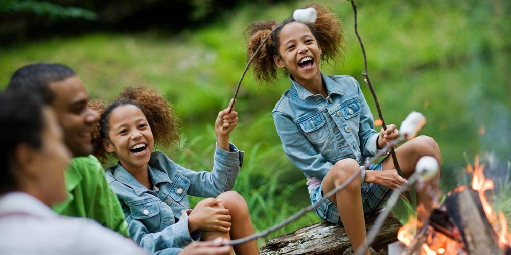 Sisters Roasting Marshmallows