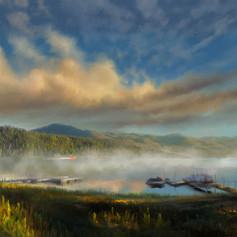 Sunrise on Big Bear Lake-painting-small.