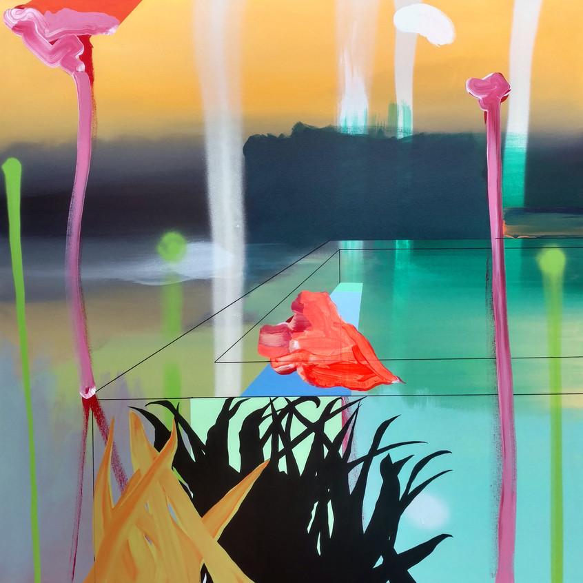 Kulvinder Kaur Dhew.'Pool'. Acrylic on canvas