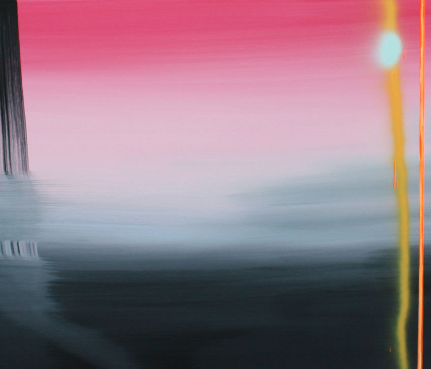 Kulvinder Kaur Dhew. 'Pink Electric Vibe' Acrylic on canvas