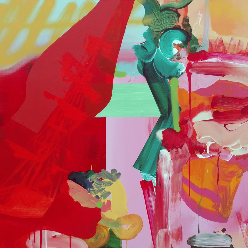 Kulvinder Kaur Dhew. 'Shanghai Red Fort' Acrylic on canvas
