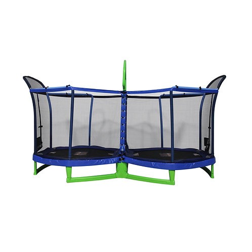 Bounce Pro Battle Zone 8 x 14-Foot Double Trampoline, with Enclosure, Blue and G