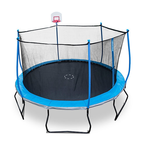 Bounce Pro 14-Foot Trampoline, with Safety Enclosure and BasketBall, Blue Gray
