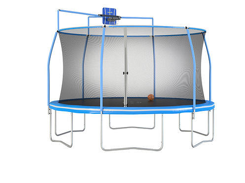 Copia de Bounce Pro 15-Foot Trampoline, with Enclosure and Basketball Hoop, Blue