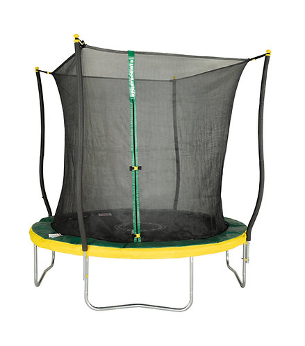 Bounce Pro 8-Foot Trampoline, with Classic Enclosure and Flash Light Zone, Green