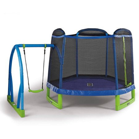 Bounce Pro My First Jump 7-Foot Trampoline and Swing, Blue/Green
