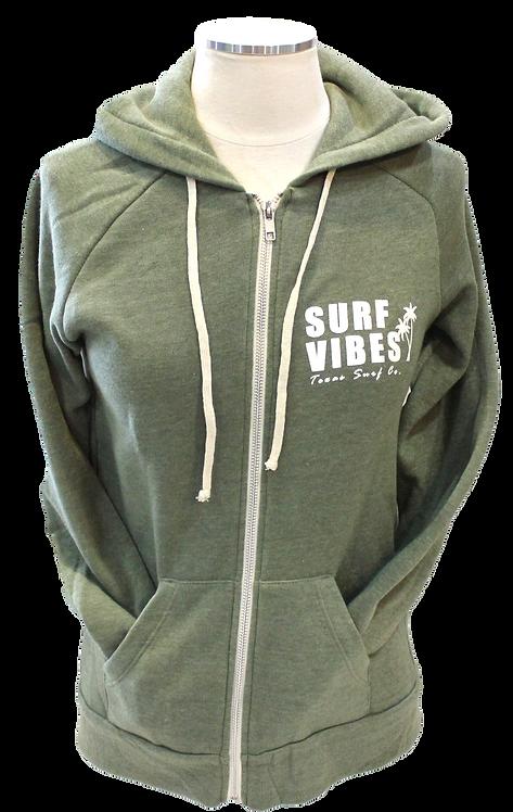 Surf Vibes Zip Hoodie - Army Green