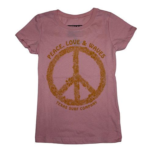 Peace Love & Waves Girls Tee