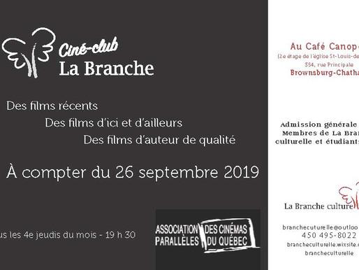 Lancement du Ciné-club La Branche - programmation automne 2019