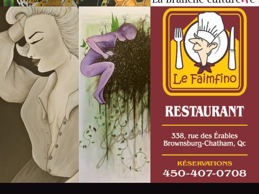 Sabrina Marineau expose au restaurant Le Faimfino jusqu'au 25 janvier 2021