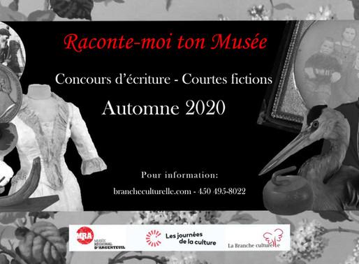 """Concours d'écriture de courte fiction """"Raconte-moi ton Musée"""" - Short fiction Competition"""