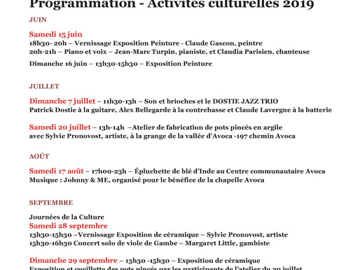 Porte-voix culturel: Programmation estivale du Comité culturel Avoca
