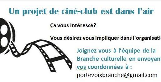 Répondez au sondage pour un Ciné-club La Branche pour vous!