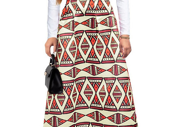 Geometric Pattern Print Stylish Long Skirt