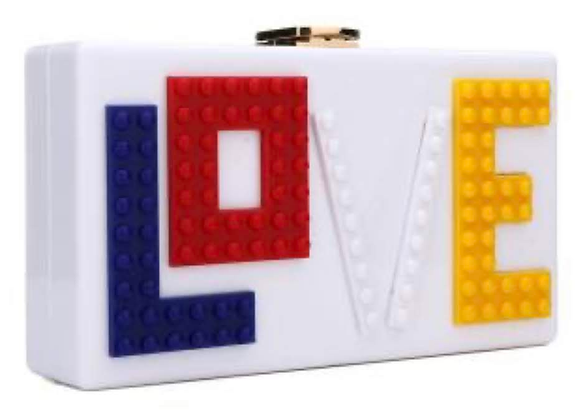 LEGO LOVE - Acrylic Box Clutch Bag attached with hanging strap One Shoulde