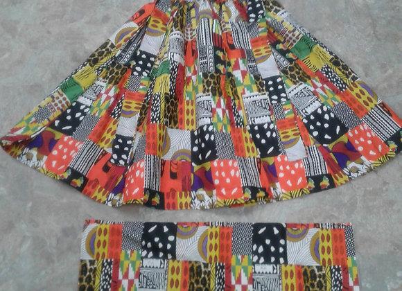 African Print Skirt w/ Matching Headwrap