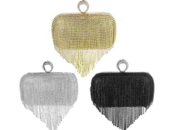 Leather Tassels Clutch Bag with chain with rhinestones