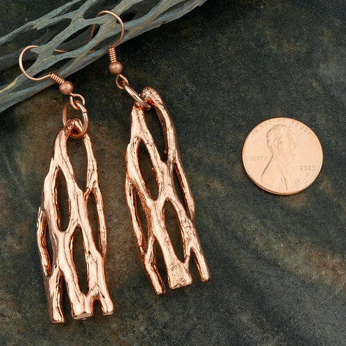 Large Copper Cholla Earrings