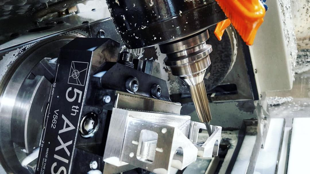 Close-up of 5-axis VF-3 with 30,000 RPM spindle