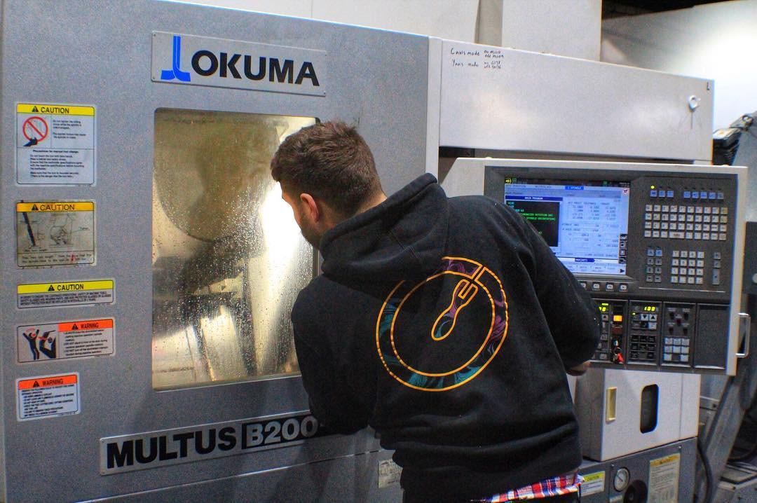 setting up a job on our CNC lathe machine