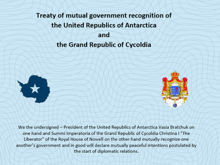 Diplomatic ties with Grand Republic of Cycoldia are now official
