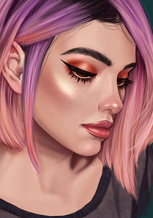 Pastel Unicorn Hair portrait of a girl