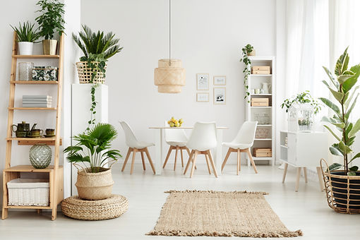 Modern Dining Room, White plastic dining chairs with natural wood legs, Jute natural color rug with fringes, plants, basket weave hanging light fixture, Ladder shelving unit, White tall shelving unit, White dining table wth clear bowl of yellow lemons on it
