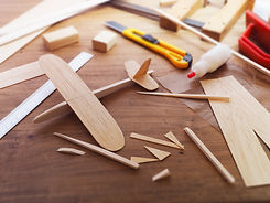 Making model airplane from wood. Wooden