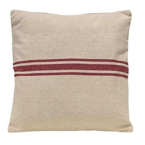 Red Stripe Grain Sack Pillow