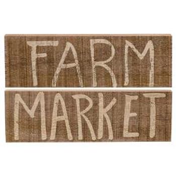 Market or Farm Wooden Block, 2 Asstd.