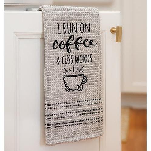 I Run on Coffee & Cuss Words Dish Towel
