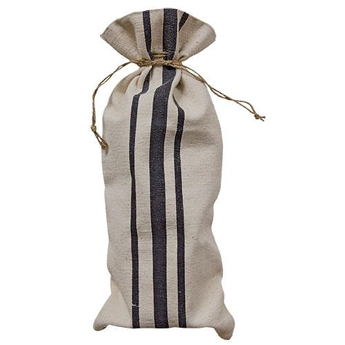 Farmhouse Canvas Striped Wine Bag
