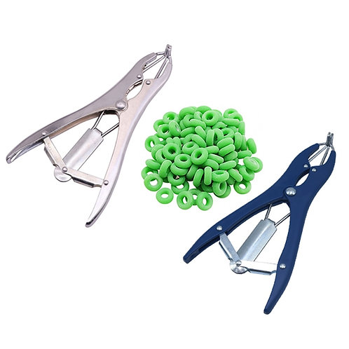 Goat/Sheep Castration Pliers and 100 Rubber Rings