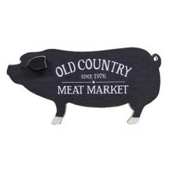 Old Country Meat Market Wooden Pig