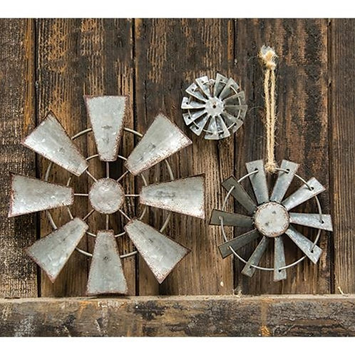 Metal Windmill Ornament with Jute Hanger, 4 inch