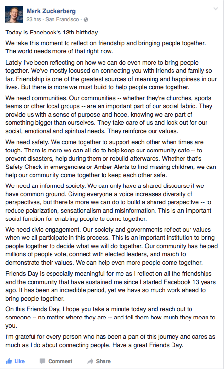 Mark Zuckerberg FB 13th Birthday Greeting