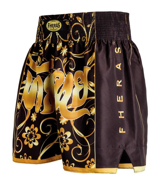 Shorts Fheras Flowers Gold Muay Thai - REF 3030