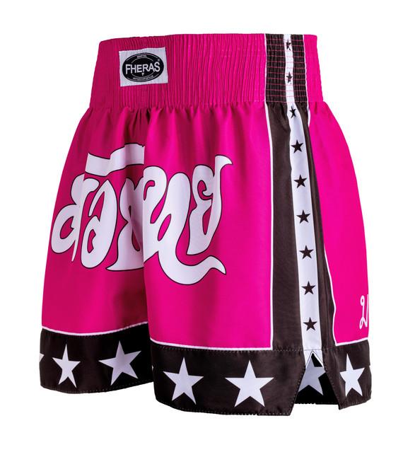 Shorts Fheras Estrela 2 Rosa/Preto - REF 1337